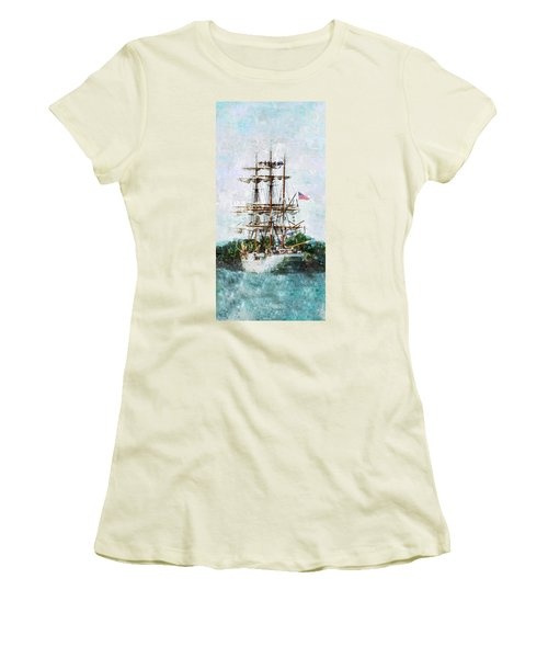 Tall Ship Eagle Has Landed Women's T-Shirt (Junior Cut) by Marianne Campolongo