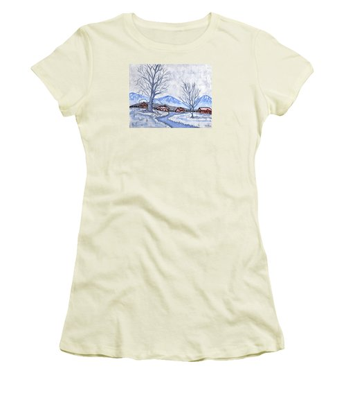 Women's T-Shirt (Junior Cut) featuring the painting The Farm Life by Connie Valasco
