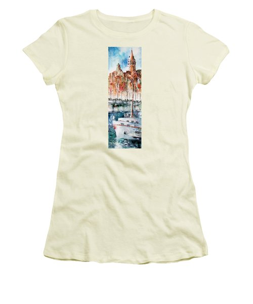 Women's T-Shirt (Junior Cut) featuring the painting The Ferry Arrives At Galata Port - Istanbul by Faruk Koksal