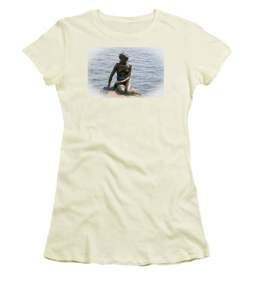 Women's T-Shirt (Junior Cut) featuring the photograph The Little Mermaid Of Copenhagen by Victoria Harrington