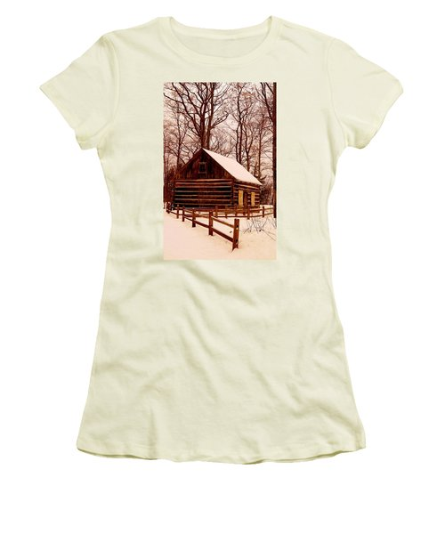 The Log Cabin At Old Mission Point Women's T-Shirt (Athletic Fit)
