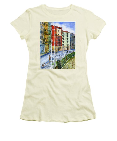 The Riverside Houses At Bilbao La Vieja Women's T-Shirt (Junior Cut) by Zaira Dzhaubaeva
