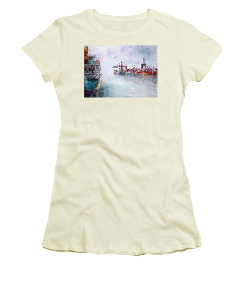 Women's T-Shirt (Junior Cut) featuring the painting The Ship At Harbor Entrance by Faruk Koksal