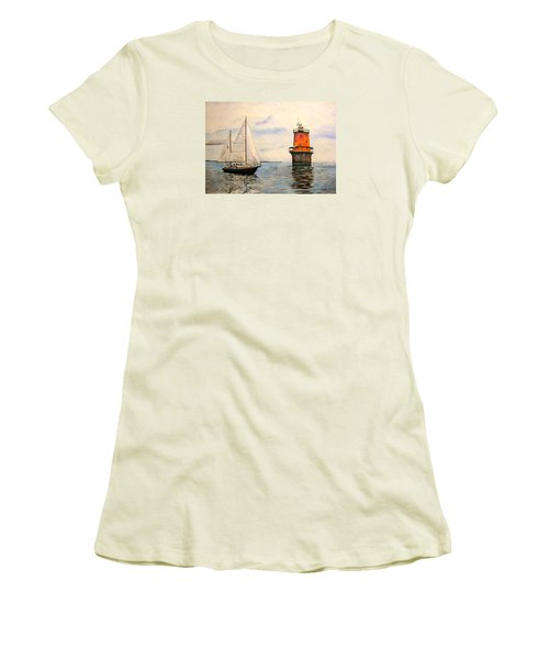 Women's T-Shirt (Junior Cut) featuring the painting Thimble Shoals Light by Stan Tenney