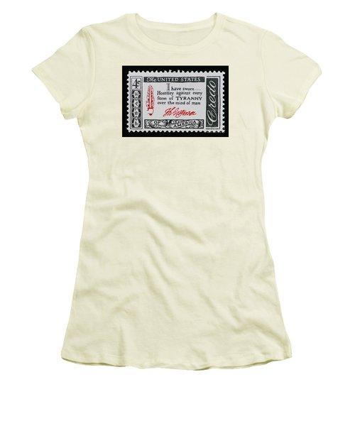 Thomas Jefferson American Credo Vintage Postage Stamp Print Women's T-Shirt (Athletic Fit)