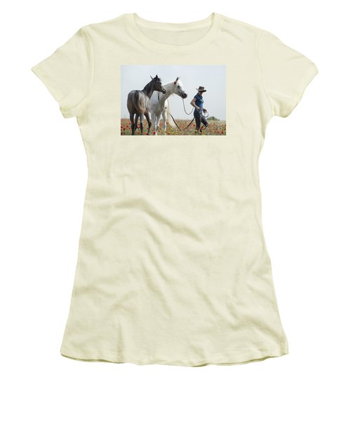 Women's T-Shirt (Junior Cut) featuring the photograph Three At The Poppies' Field... 1 by Dubi Roman