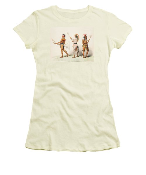 Three Indians Playing Lacrosse Women's T-Shirt (Junior Cut)