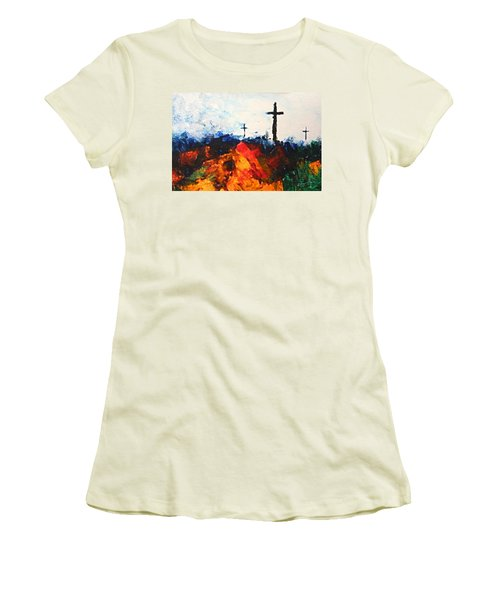 Three Wooden Crosses Women's T-Shirt (Athletic Fit)