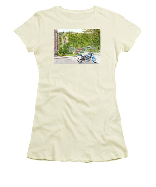Women's T-Shirt (Junior Cut) featuring the painting Thunder In Johnstown by Albert Puskaric