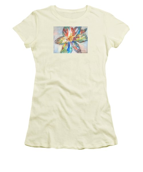 Women's T-Shirt (Junior Cut) featuring the painting Tiger Lilly by Mary Haley-Rocks