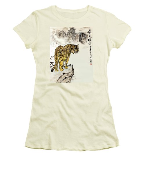 Tiger Women's T-Shirt (Junior Cut) by Yufeng Wang
