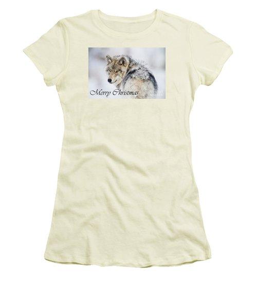 Timber Wolf Christmas Card 2 Women's T-Shirt (Junior Cut) by Michael Cummings