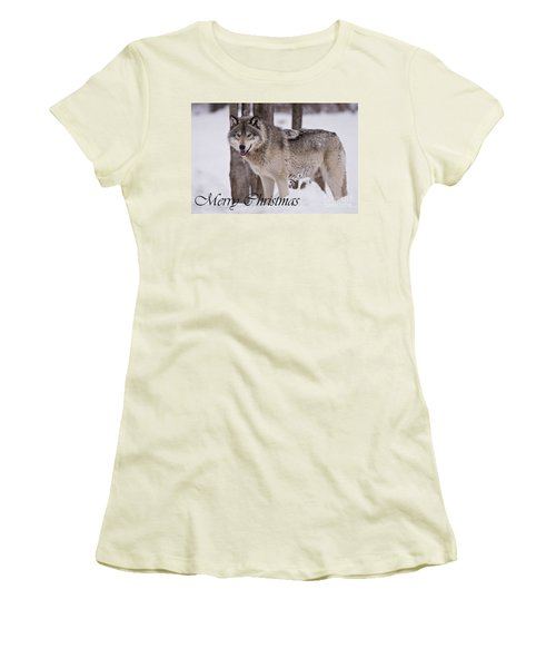 Timber Wolf Christmas Card English 3 Women's T-Shirt (Athletic Fit)