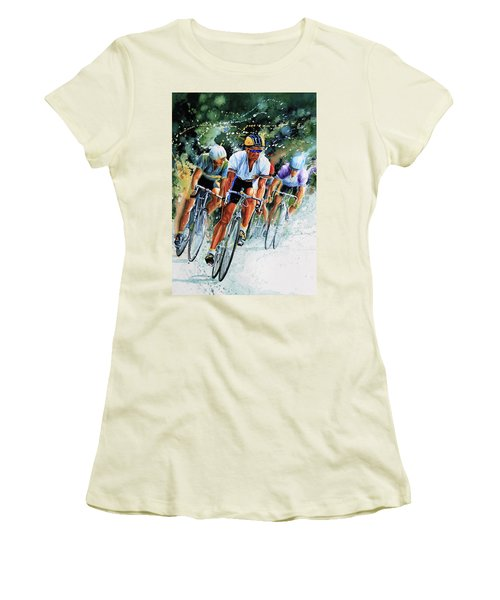 Women's T-Shirt (Athletic Fit) featuring the painting Tour De Force by Hanne Lore Koehler