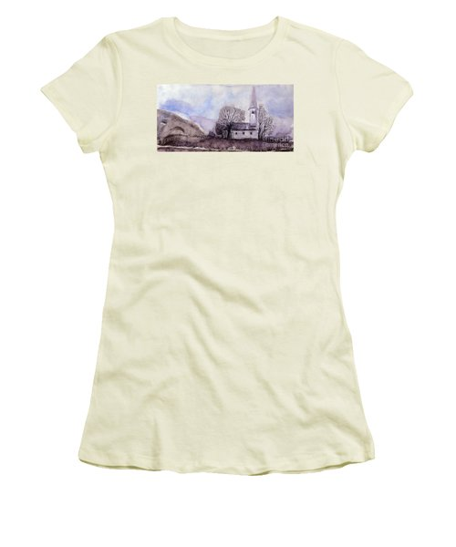 Women's T-Shirt (Junior Cut) featuring the painting Tranquility by Jasna Dragun