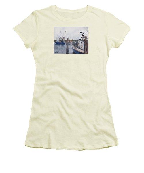 Trawlers At Gosman's Dock Montauk Women's T-Shirt (Junior Cut) by Barbara Barber
