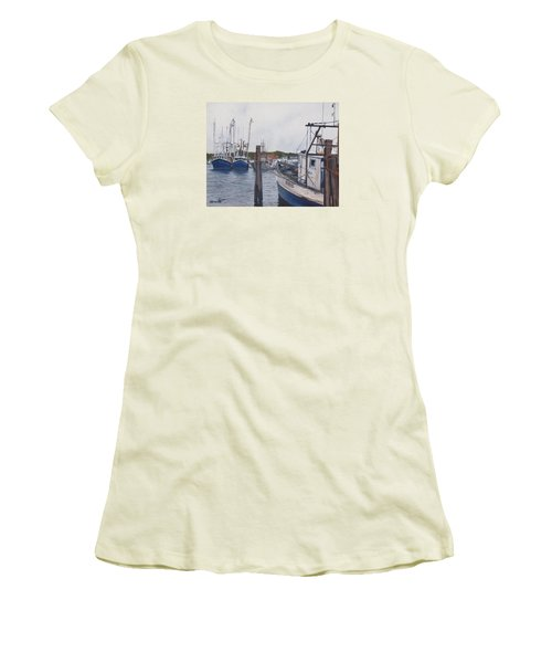 Trawlers At Gosman's Dock Montauk Women's T-Shirt (Athletic Fit)