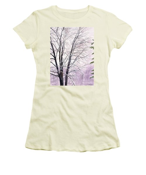 Women's T-Shirt (Junior Cut) featuring the painting Tree Memories by Melly Terpening