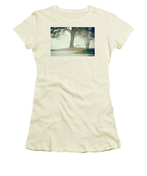 Women's T-Shirt (Junior Cut) featuring the photograph Trees In Fog by Silvia Ganora