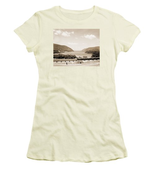 Trophy Point North Fro West Point In Sepia Tone Women's T-Shirt (Athletic Fit)