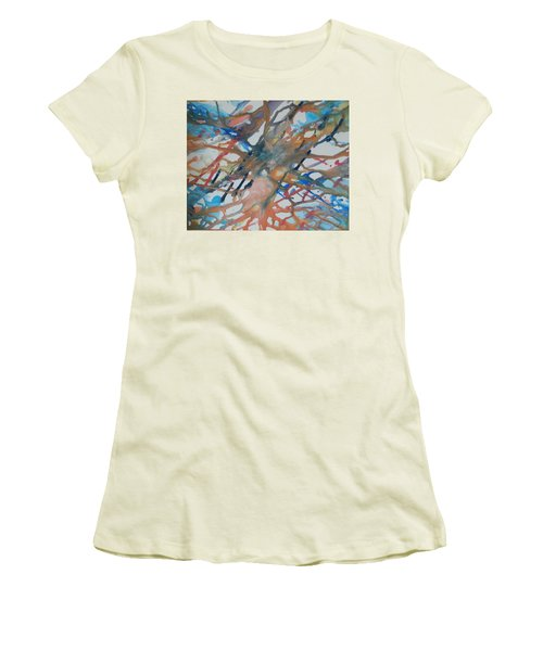 Women's T-Shirt (Junior Cut) featuring the painting Tube by Thomasina Durkay