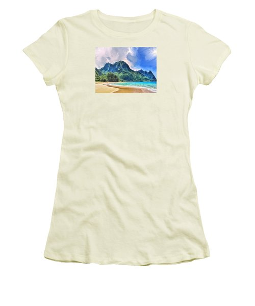 Tunnels Beach Kauai Women's T-Shirt (Junior Cut) by Dominic Piperata