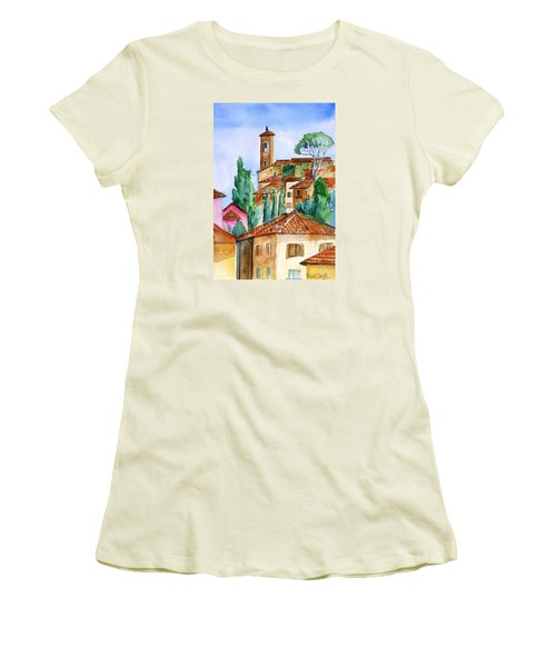 Tuscan Rooftops  -montecatini Alto Women's T-Shirt (Junior Cut) by Trudi Doyle