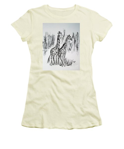 Women's T-Shirt (Junior Cut) featuring the drawing Two Giraffe's In Graphite by Janice Rae Pariza