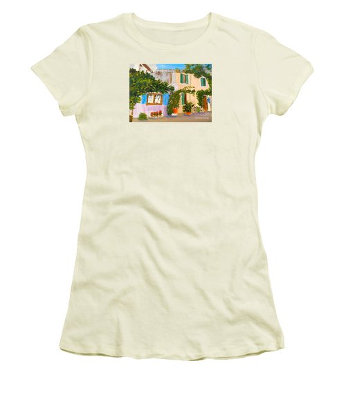 Women's T-Shirt (Junior Cut) featuring the painting Umbera Courtyard by Pamela  Meredith