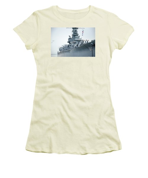 Women's T-Shirt (Junior Cut) featuring the photograph Uss Alabama 3 by Susan  McMenamin