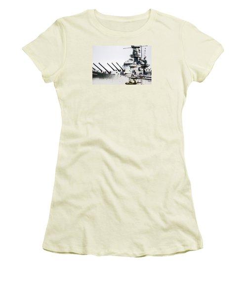 Women's T-Shirt (Junior Cut) featuring the photograph Uss Alabama by Susan  McMenamin