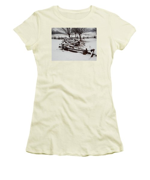 Women's T-Shirt (Junior Cut) featuring the photograph Valley Forge Snow by Michael Porchik