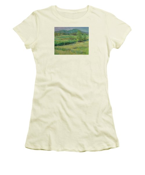 Valley Ranch Rural Western Landscape Painting Oregon Art  Women's T-Shirt (Athletic Fit)