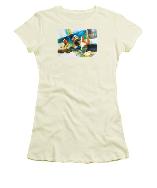 Women's T-Shirt (Junior Cut) featuring the painting Veridian Chicken by Kathy Braud