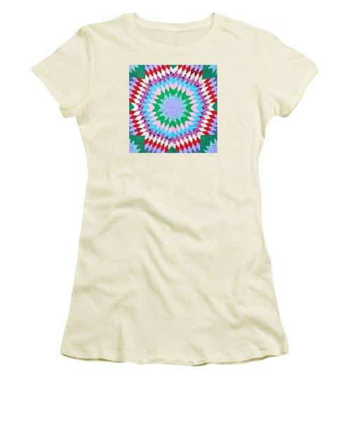 Vibrant Quilt Women's T-Shirt (Junior Cut) by Art Block Collections