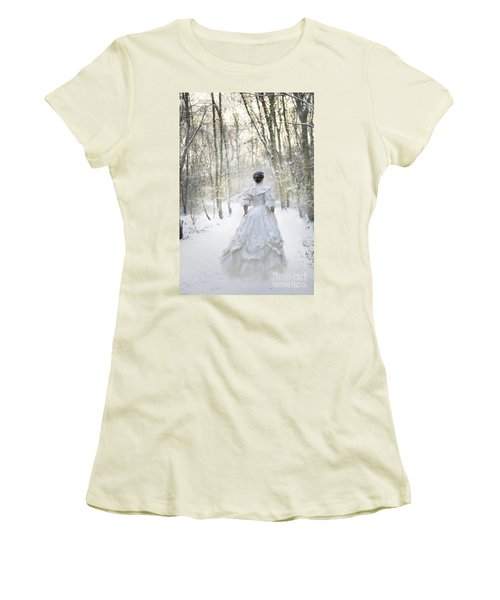 Victorian Woman Running Through A Winter Woodland With Fallen Sn Women's T-Shirt (Athletic Fit)