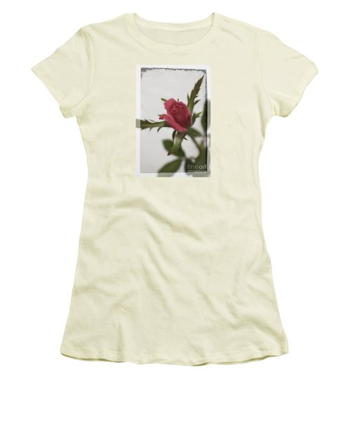 Women's T-Shirt (Junior Cut) featuring the photograph Vintage Antique Rose by Ella Kaye Dickey