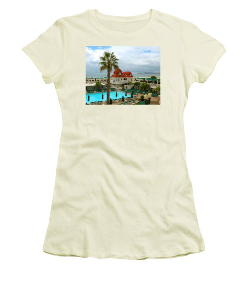 Vintage Cabana At The Del Women's T-Shirt (Junior Cut) by Connie Fox