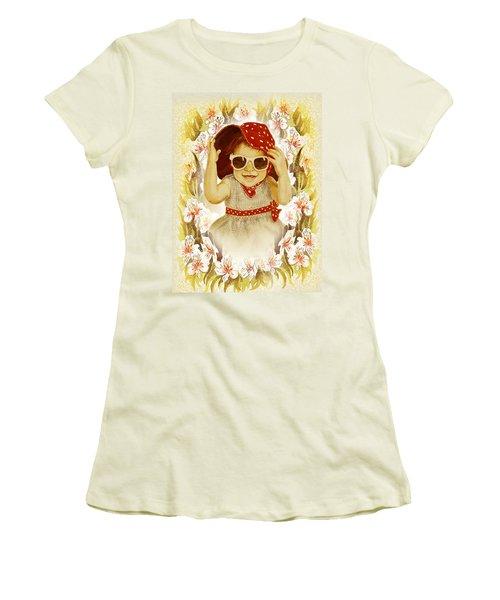 Women's T-Shirt (Junior Cut) featuring the painting Vintage Fashion Girl by Irina Sztukowski