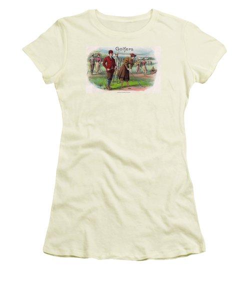 Women's T-Shirt (Junior Cut) featuring the digital art Vintage Golfers by Maciek Froncisz
