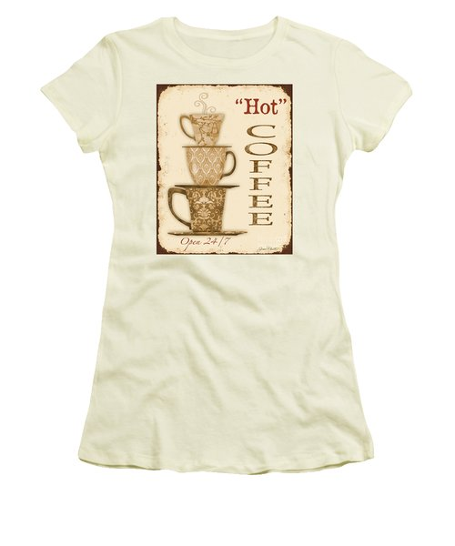 Vintage Hot Coffee Sign Women's T-Shirt (Junior Cut) by Jean Plout