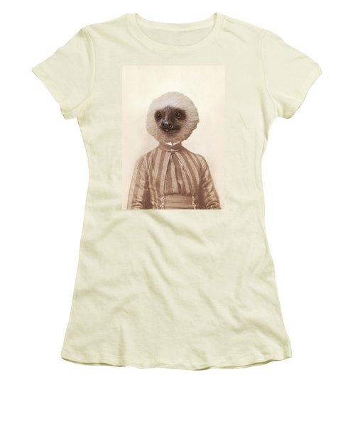 Vintage Sloth Girl Portrait Women's T-Shirt (Junior Cut) by Brooke T Ryan