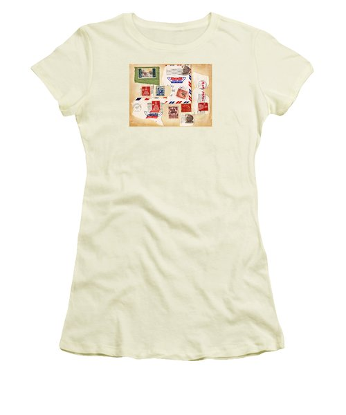 Women's T-Shirt (Junior Cut) featuring the photograph Vintage Stamps On Old Postcard by Vizual Studio