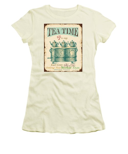 Vintage Tea Time Sign Women's T-Shirt (Junior Cut)
