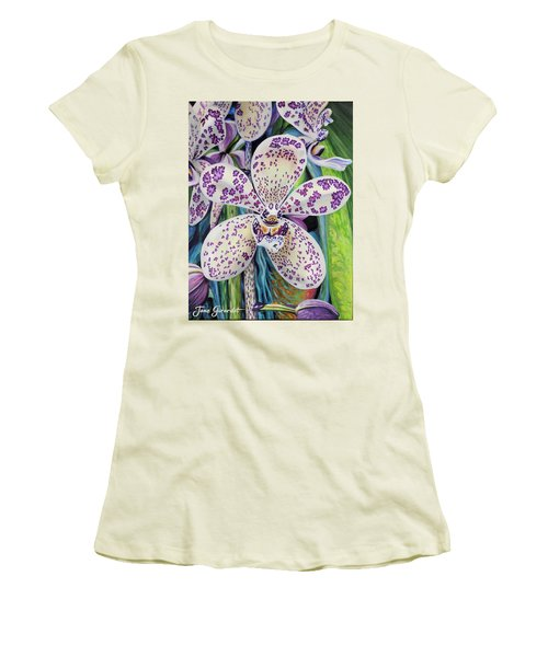 Violet Dotted Orchid Women's T-Shirt (Junior Cut) by Jane Girardot