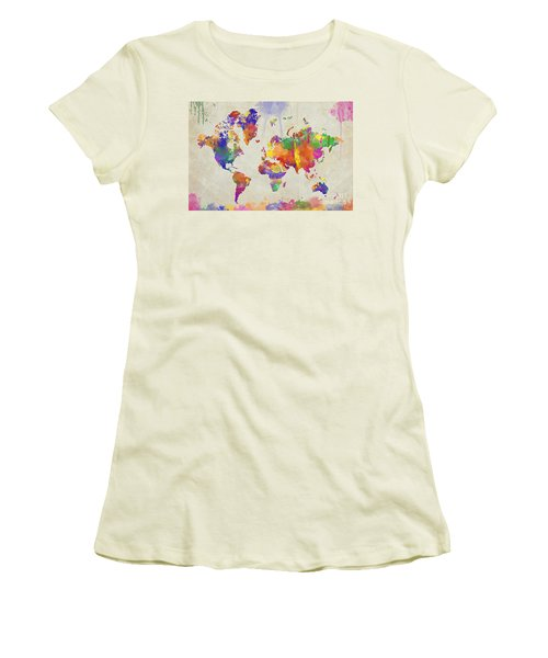 Watercolor Impression World Map Women's T-Shirt (Athletic Fit)