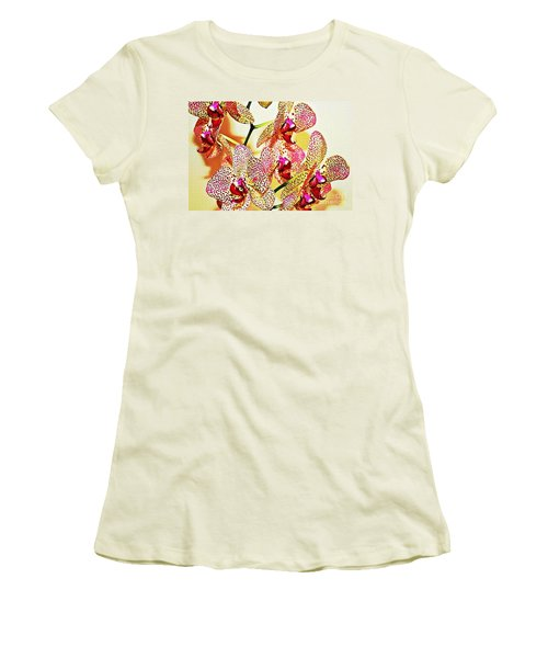 Women's T-Shirt (Junior Cut) featuring the photograph Watercolor Orchid Shadows by Judy Palkimas