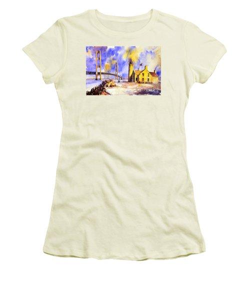 Watercolor Painting Of Ligthouse On Mackinaw Island- Michigan Women's T-Shirt (Junior Cut) by Ryan Fox