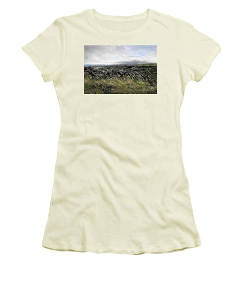 Women's T-Shirt (Junior Cut) featuring the photograph Waves Of Clouds Sea Lava And Grass by Ellen Cotton
