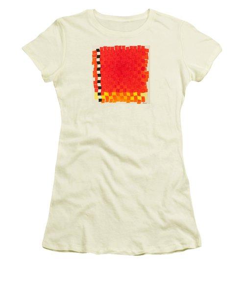 Weave #2 Sunset Weave Women's T-Shirt (Junior Cut) by Thomas Gronowski